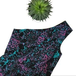 Shoshanna Purple / Turquoise One Shoulder Dress